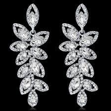 elegant bridal crystal leaves dangle earring luxury wedding rhinestone tassel long earring jewelry accessories for gift party