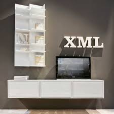 made wall mounted tv stand with baskets and open compartments more images more images