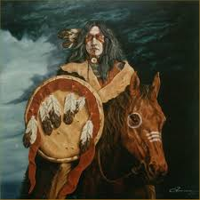 portrait in oil southwest art native american indian painting when darkness came over theland