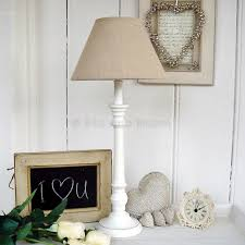 White Table Lamp Linen Shade Bliss And Bloom Ltd