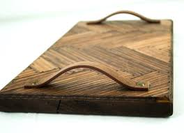 wooden tray with handles dining room attractive rustic wooden herringbone serving tray with leather handles small wooden tray