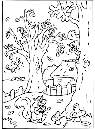 Kleurplaat Herfst Landschap Met Eenkhoorn Kleurplaatjecom