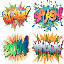 a selection of comic book exclamations and action word a selection of comic book exclamations and action word illustrations blam splash zoom