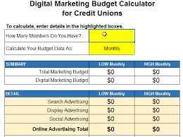 Credit Union Marketing Budget Calculator Webstrategies