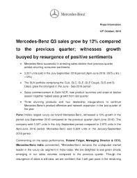 new car dealership press releaseMercedes Benz India Q3 2016 Sales Report  Press Release