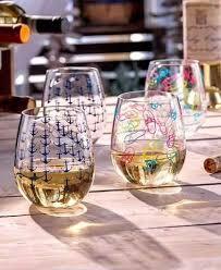 decorative acrylic wine glasses. Modren Decorative Stemless Wine Glass Set Acrylic Anchor Flip Flop Seashell Nautical Concept  Of Decorative Glasses Throughout