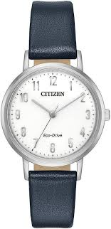 women s citizen chandler navy blue leather band watch em0570 01a loading zoom