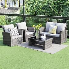gray patio furniture. 5 Piece Outdoor Patio Furniture Sets,Wisteria Lane Wicker Ratten Sectional Sofa With Seat Cushions Gray U
