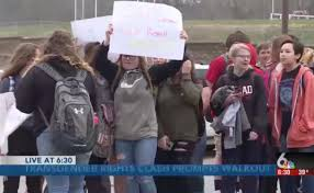 teen girls stage school walkout to protest boys in their bathroom who claim to be