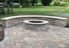 outdoor kitchen gas fire pit seat wall paver patio and landscaping mount prospect