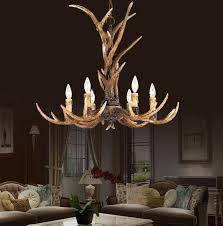 country 6 head candle antler chandelier retro resin deer horn lamps home decoration lighting in chandeliers