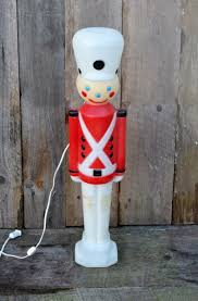 Christmas Lighted Soldiers Vintage Toy Soldier Nutcracker Plastic Blow Mold Light Up