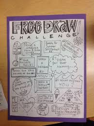 monthly free draw challenge activities or make into a journal to plete for each child by end of year