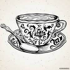 vintage tea cup vector.  Vector Tea Cup With Spoon And Floral Ornamentvector Illustration Ornate Vintage  Line Art Drawing On Vintage Cup Vector