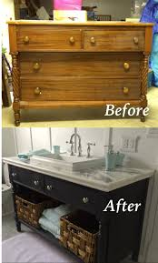Re-do of an old dresser into a bathroom vanity. Painted with Chalk ...