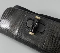 gucci clutch. gucci black satin and python small clutch with bamboo clasp 3