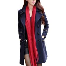 classic double ted wool trench coat women long