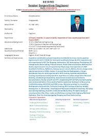 Senior Inspection Engineer V Chandrasekhar Resume As On 01 12 2014