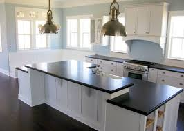 Small Picture Clean White Kitchen Island Design With Black Countertop Laminate