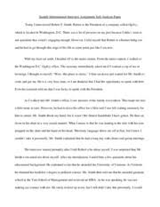 Sample Informational Interview Self Analysis Paper Smith
