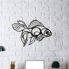 laser cut metal fighter fish wall art black