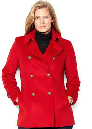 plus size long pea coat double ted peacoat with ruffles