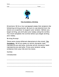 the outsiders theme essay Free Essays and Papers The Outsiders Essay Outline   Essay Topics Essay Outline The Outsiders  th   th Grade Worksheet Lesson