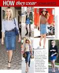 How to wear a denim skirt with leggings