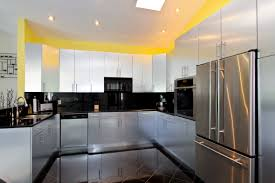 Yellow Wall Kitchen Kitchen Cabinets Yellow Wall Interior Paint Decoration In Modern
