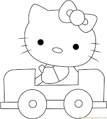 Small Picture Hello Kitty Driving a Car Coloring Page Free Hello Kitty