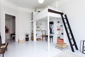Light studio apartment with loft bed