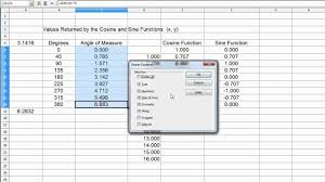 graphing a sin sine wave with a spreadsheet