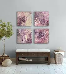plum coloured wall art large purple abstract painting 4 square watercolor abstract wall art big art