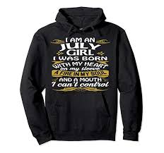 Iuly Size Chart Amazon Com July Girl Was Born With My Heart Hoodie For