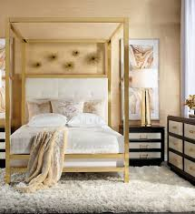 Furniture Rectangular White Wood Canopy Bed Under Gold Color Tray Ceiling  Classy Style With Natural Sleeping