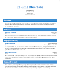 select template blue tabs sample of the resume