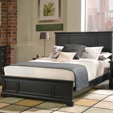 Black Wooden Bed Frame With Headboard And White Bedding Set Also Grey  Striped Blanket