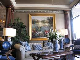 blue & white - formal living room -Greek key wallpaper border, tray ceiling,