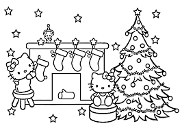 Christmas Hello Kitty Coloring Pages For