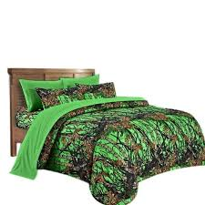 22 pc queen day glo camo biohazard green comforter sheets with 3 curtain sets