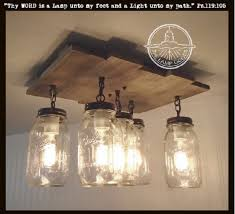 Mason Jar CEILING LIGHT with Reclaimed Wood - Mason Jar Light Fixture - The  Lamp Goods ...