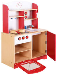 this is an image of cooking pretend toddler playset in red color
