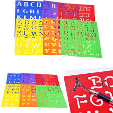 kids capitall alphabet letter drawing templates 6pcs washable stencils children educational toys plastic painting drawing toys