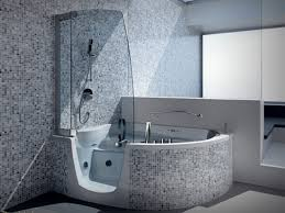 Bathroom Snazzy Corner Step In Whirlpool Tub With Modern Steam