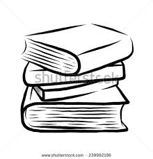 stack of four books cartoon vector and ilration black and white hand drawn
