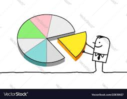 Hand Drawn Pie Chart Hand Drawn Cartoon Characters Man And Pie Chart
