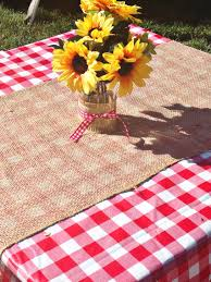 Garden party decorating ideas: BaByQ Red Gingham Tablecloth with Burlap  Runner and Sunflower Mason Jar Centerpiece