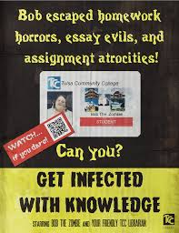 essay on college library essay english essay writer essay library  photoshop page librarian design share get infected knowledge zombie library promo video poster