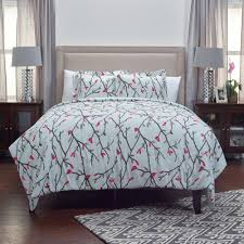 rizzy home ivory twigs hot pink flowering buds pattern 3 piece king bed set