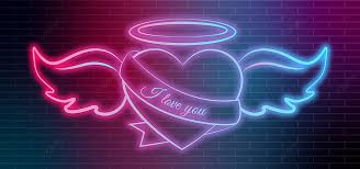 neon heart background design with